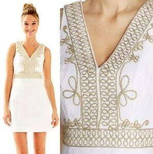Lilly Pulitzer Aveline Shift Dress White with Gold